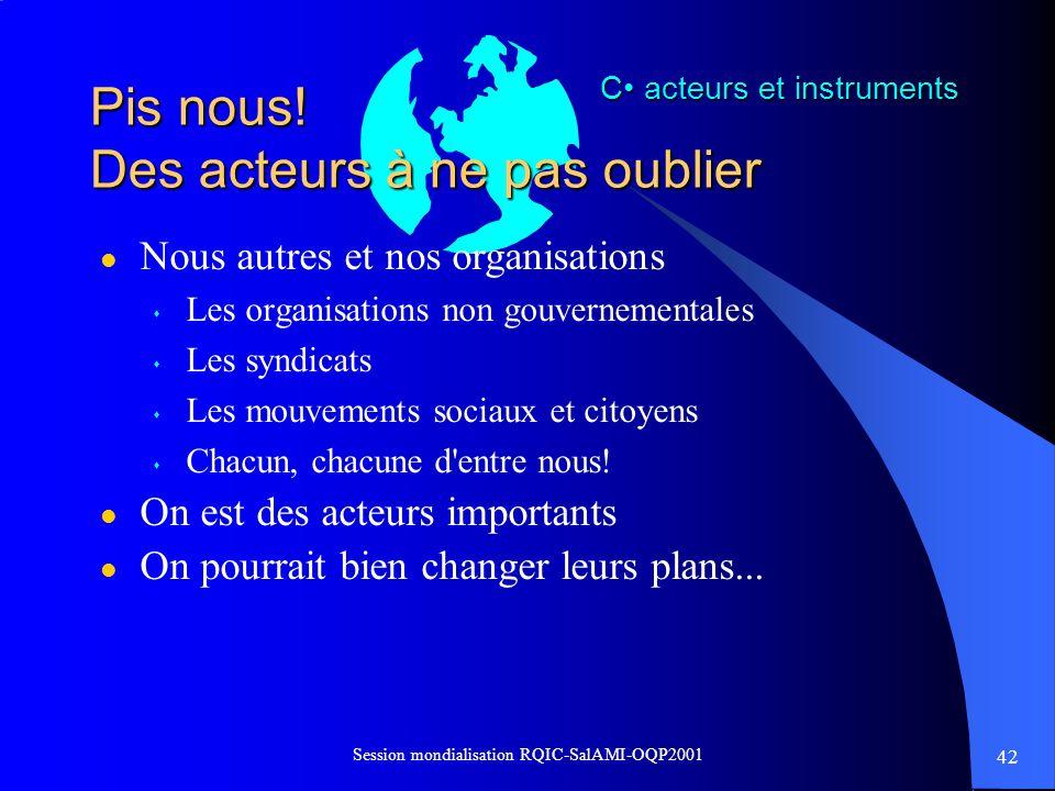 42 Session mondialisation RQIC-SalAMI-OQP2001 Pis nous! Des acteurs à ne pas oublier l Nous autres et nos organisations s Les organisations non gouver
