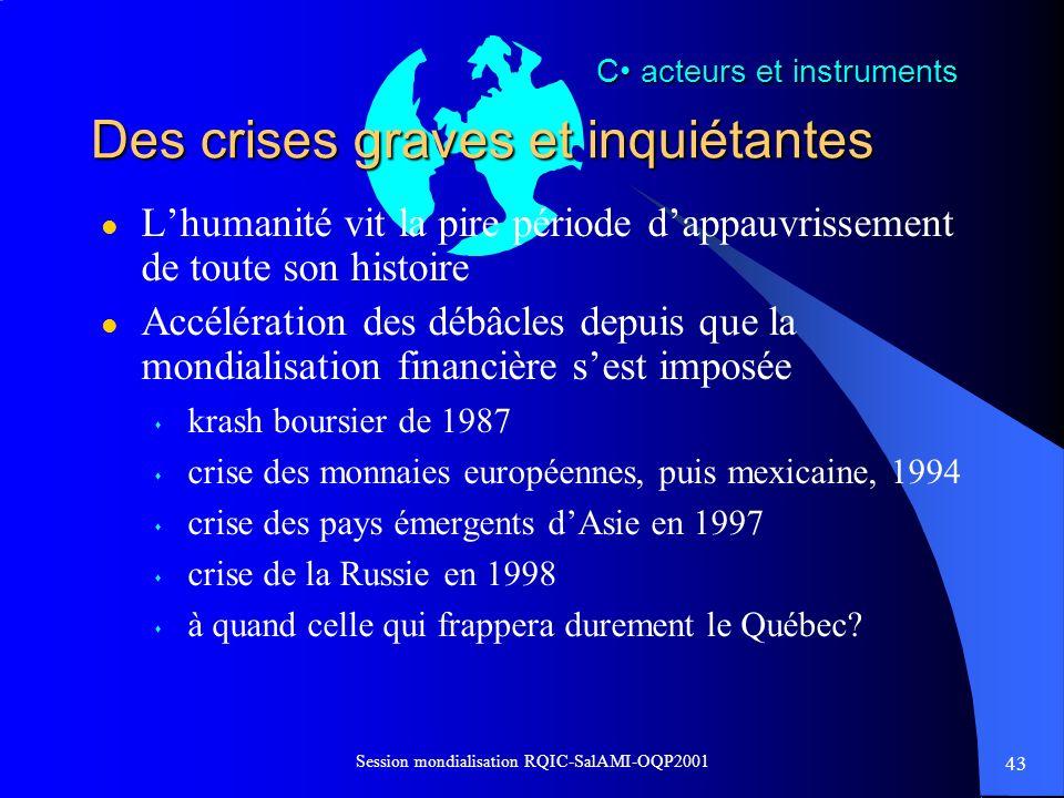 43 Session mondialisation RQIC-SalAMI-OQP2001 Des crises graves et inquiétantes l Lhumanité vit la pire période dappauvrissement de toute son histoire
