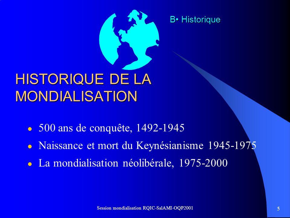 6 Session mondialisation RQIC-SalAMI-OQP2001 LA CONQUÊTE DU MONDE, UNE DYNAMIQUE TRÈS ANCIENNE l LEurope à la conquête du monde l En Amérique, des millions de morts chez les autochtones et des millions desclaves africains déracinés.
