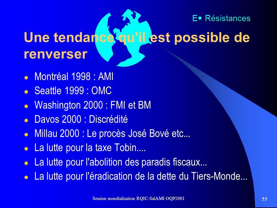 55 Session mondialisation RQIC-SalAMI-OQP2001 Une tendance qu'il est possible de renverser l Montréal 1998 : AMI l Seattle 1999 : OMC l Washington 200