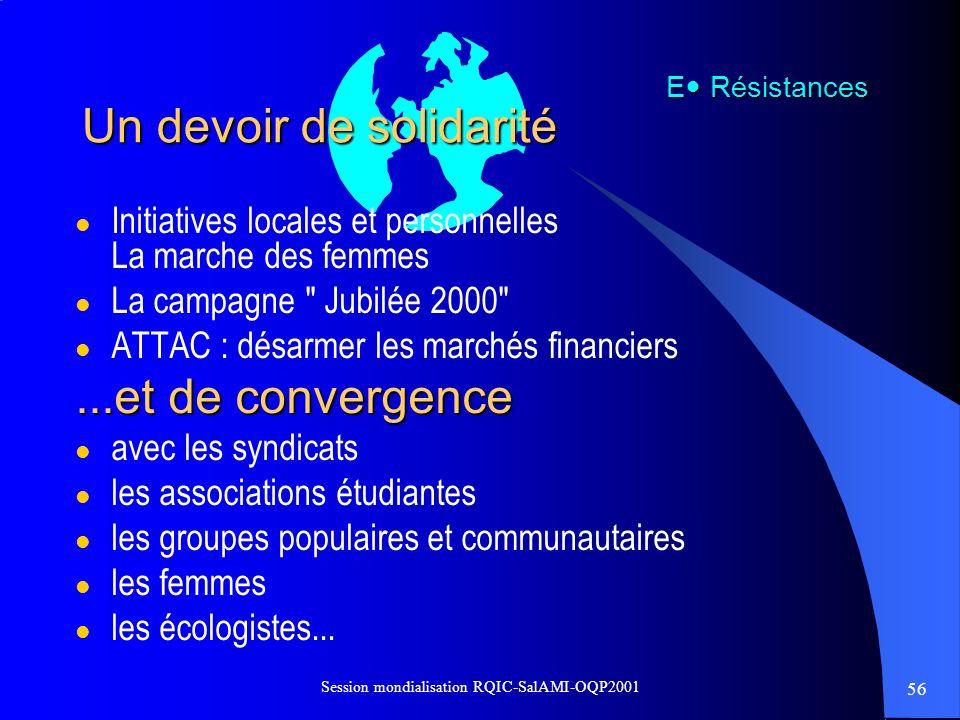 56 Session mondialisation RQIC-SalAMI-OQP2001 Un devoir de solidarité l Initiatives locales et personnelles La marche des femmes l La campagne