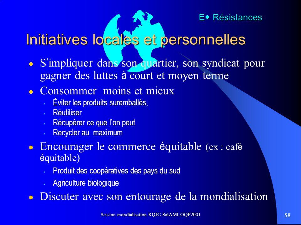 58 Session mondialisation RQIC-SalAMI-OQP2001 Initiatives locales et personnelles E Résistances l S impliquer dans son quartier, son syndicat pour gag