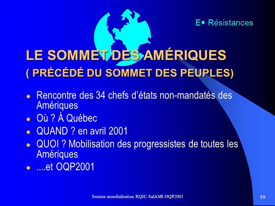 59 Session mondialisation RQIC-SalAMI-OQP2001 LE SOMMET DES AMÉRIQUES ( PRÉCÉDÉ DU SOMMET DES PEUPLES) l Rencontre des 34 chefs détats non-mandatés de