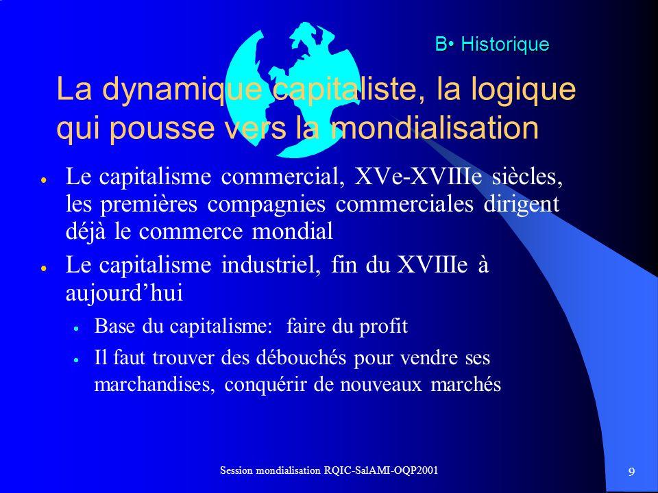 9 Session mondialisation RQIC-SalAMI-OQP2001 La dynamique capitaliste, la logique qui pousse vers la mondialisation Le capitalisme commercial, XVe-XVI
