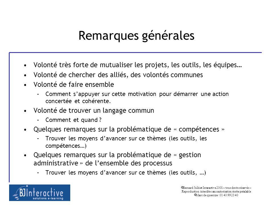 Bernard Julhiet Interactive 2001 – tous droits réservés – Reproduction interdite sans autorisation écrite préalable Marc de quercize / 01 40 99 23 40 Remarques générales Manque de budget.