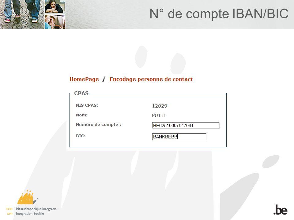N° de compte IBAN/BIC