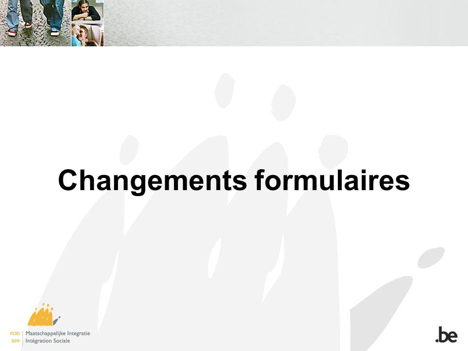 Changements formulaires