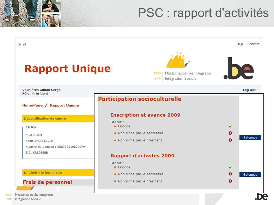 PSC : rapport d'activités