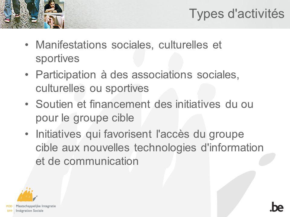 Types d'activités Manifestations sociales, culturelles et sportives Participation à des associations sociales, culturelles ou sportives Soutien et fin