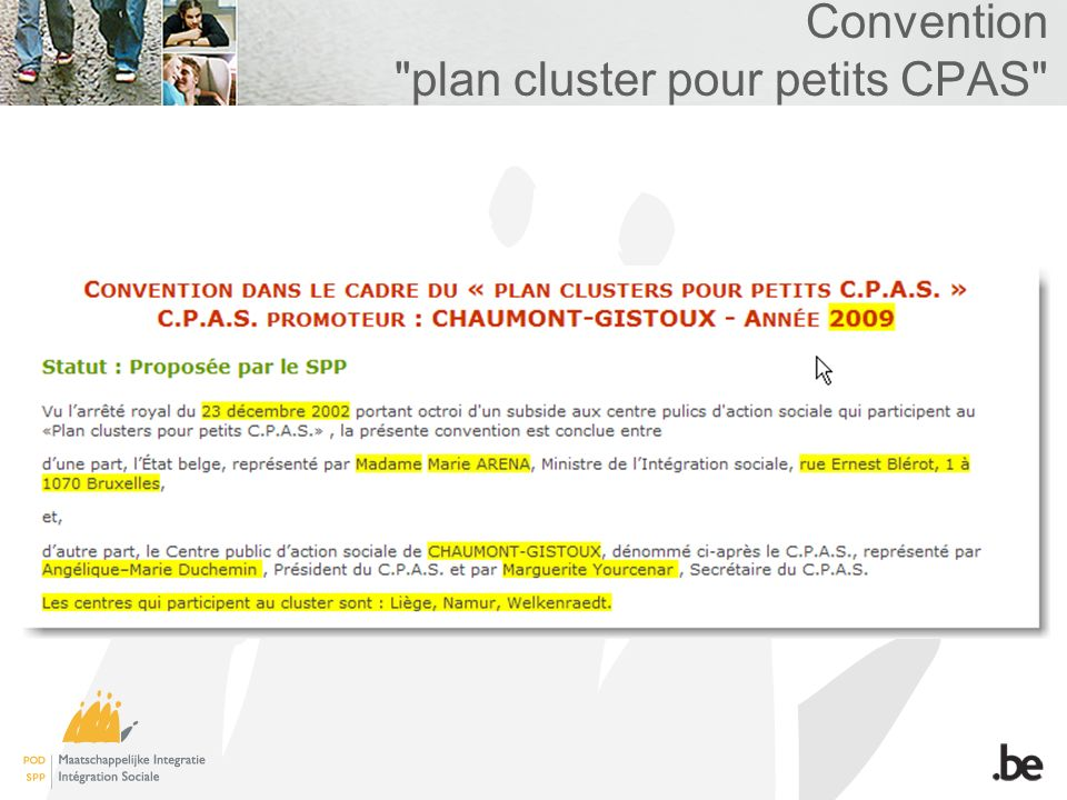 Convention plan cluster pour petits CPAS