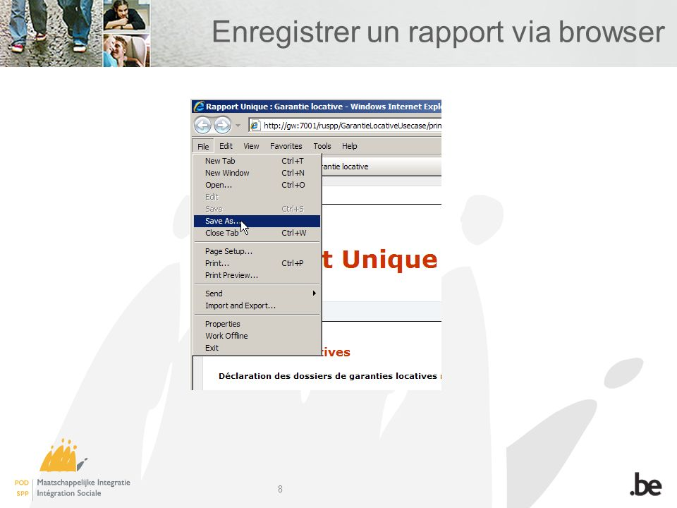 8 Enregistrer un rapport via browser