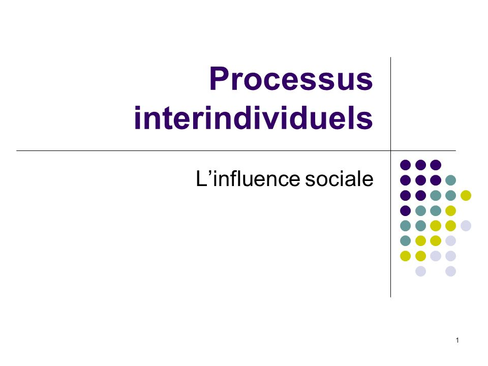 1 Linfluence sociale Processus interindividuels