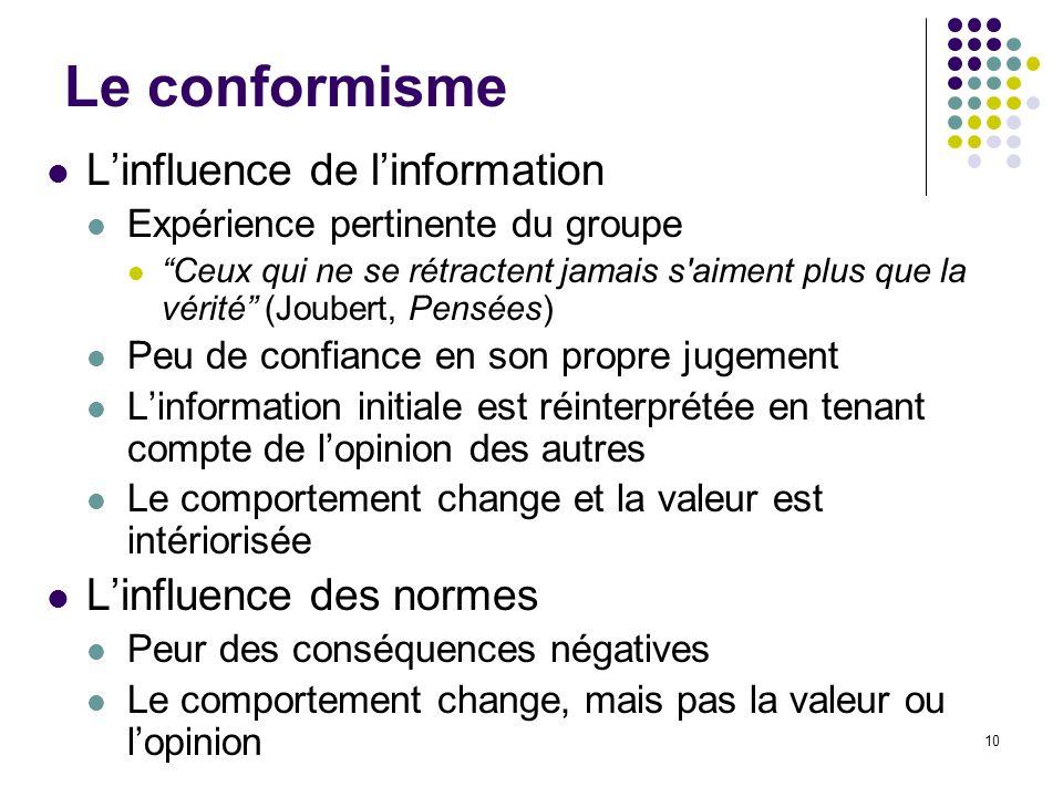 10 Le conformisme Linfluence de linformation Expérience pertinente du groupe Ceux qui ne se rétractent jamais s'aiment plus que la vérité (Joubert, Pe