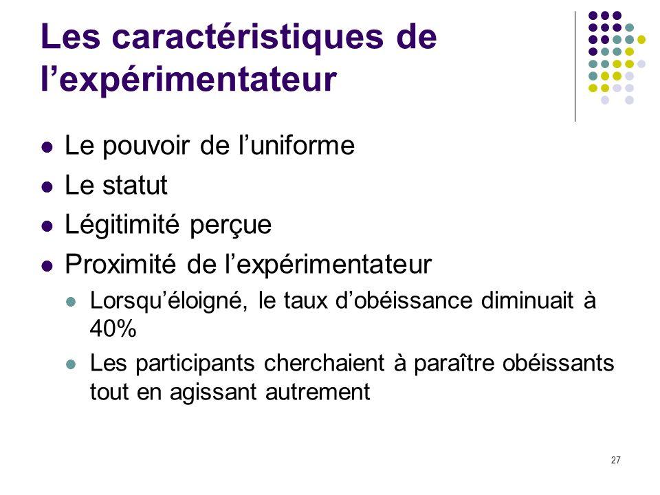 27 Les caractéristiques de lexpérimentateur Le pouvoir de luniforme Le statut Légitimité perçue Proximité de lexpérimentateur Lorsquéloigné, le taux d