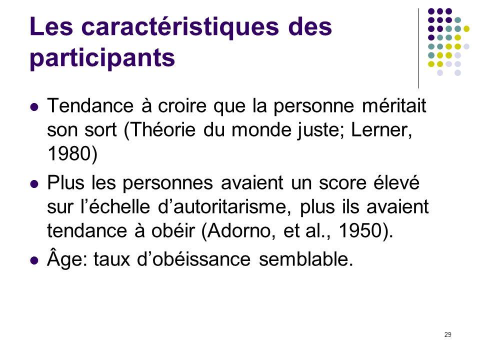 29 Les caractéristiques des participants Tendance à croire que la personne méritait son sort (Théorie du monde juste; Lerner, 1980) Plus les personnes