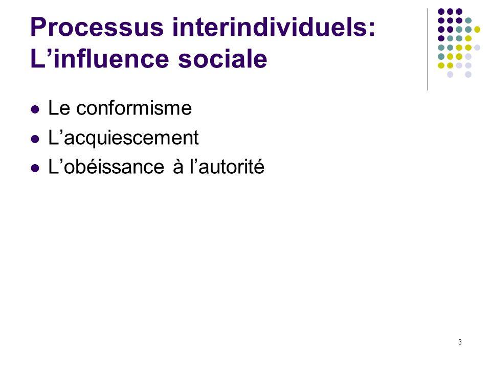 3 Le conformisme Lacquiescement Lobéissance à lautorité Processus interindividuels: Linfluence sociale