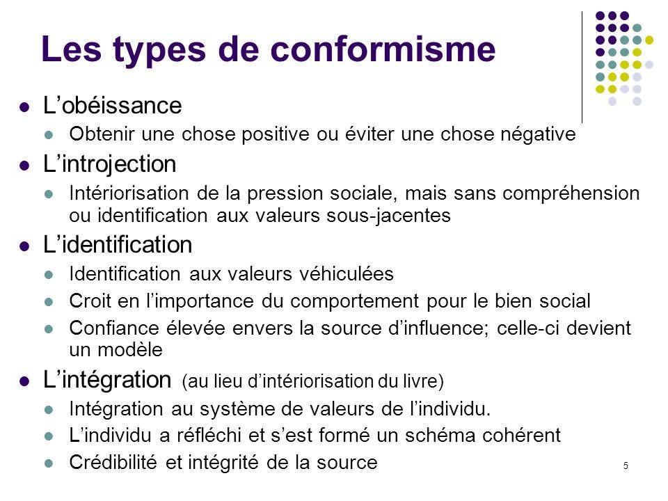 5 Les types de conformisme Lobéissance Obtenir une chose positive ou éviter une chose négative Lintrojection Intériorisation de la pression sociale, m