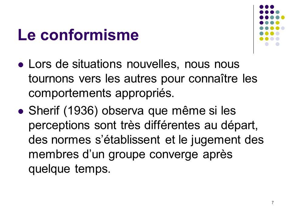 7 Le conformisme Lors de situations nouvelles, nous nous tournons vers les autres pour connaître les comportements appropriés. Sherif (1936) observa q