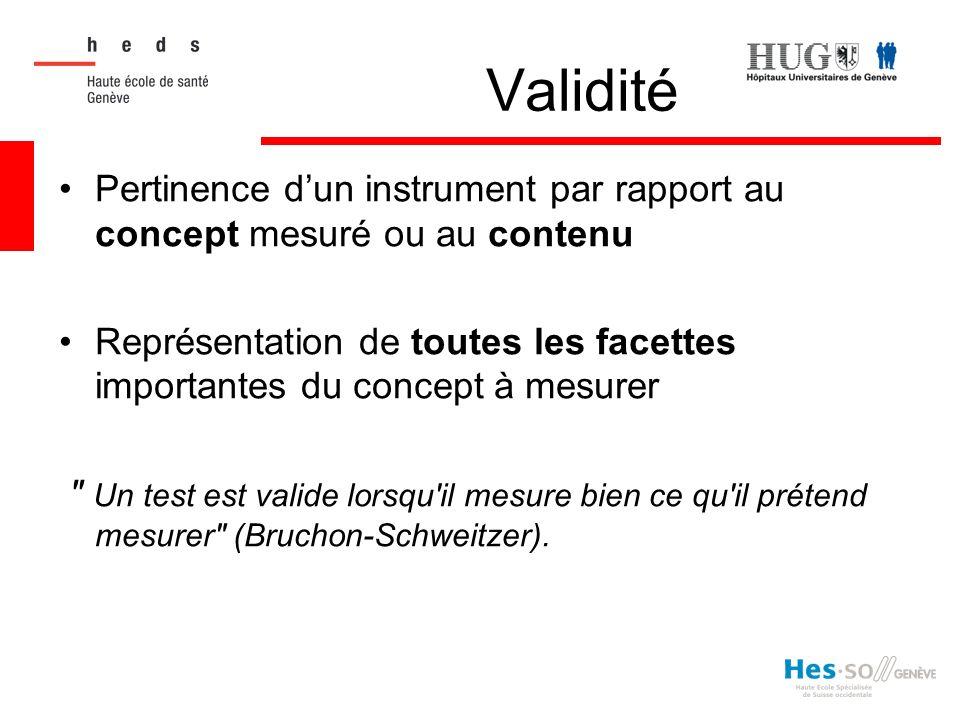 Validité Pertinence dun instrument par rapport au concept mesuré ou au contenu Représentation de toutes les facettes importantes du concept à mesurer