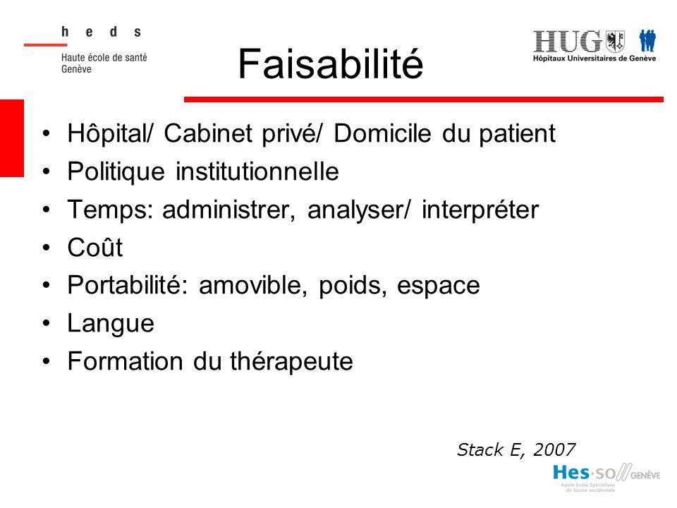 Faisabilité Hôpital/ Cabinet privé/ Domicile du patient Politique institutionnelle Temps: administrer, analyser/ interpréter Coût Portabilité: amovibl
