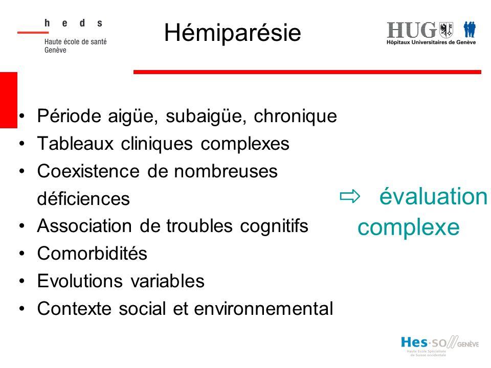 Période aigüe, subaigüe, chronique Tableaux cliniques complexes Coexistence de nombreuses déficiences Association de troubles cognitifs Comorbidités E