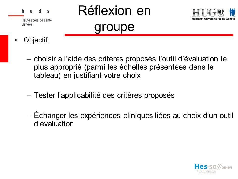 Réflexion en groupe Objectif: –choisir à laide des critères proposés loutil dévaluation le plus approprié (parmi les échelles présentées dans le table