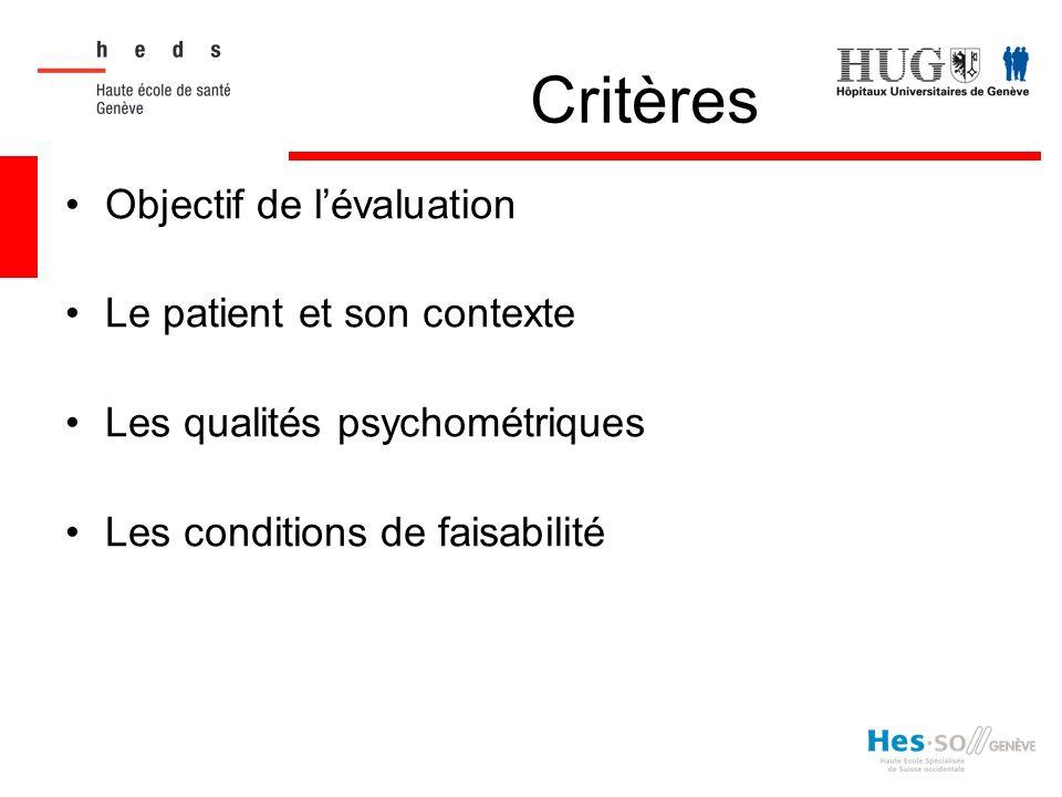 Critères Objectif de lévaluation Le patient et son contexte Les qualités psychométriques Les conditions de faisabilité