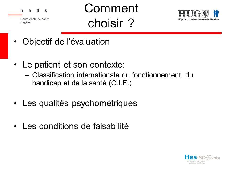 Comment choisir ? Objectif de lévaluation Le patient et son contexte: –Classification internationale du fonctionnement, du handicap et de la santé (C.