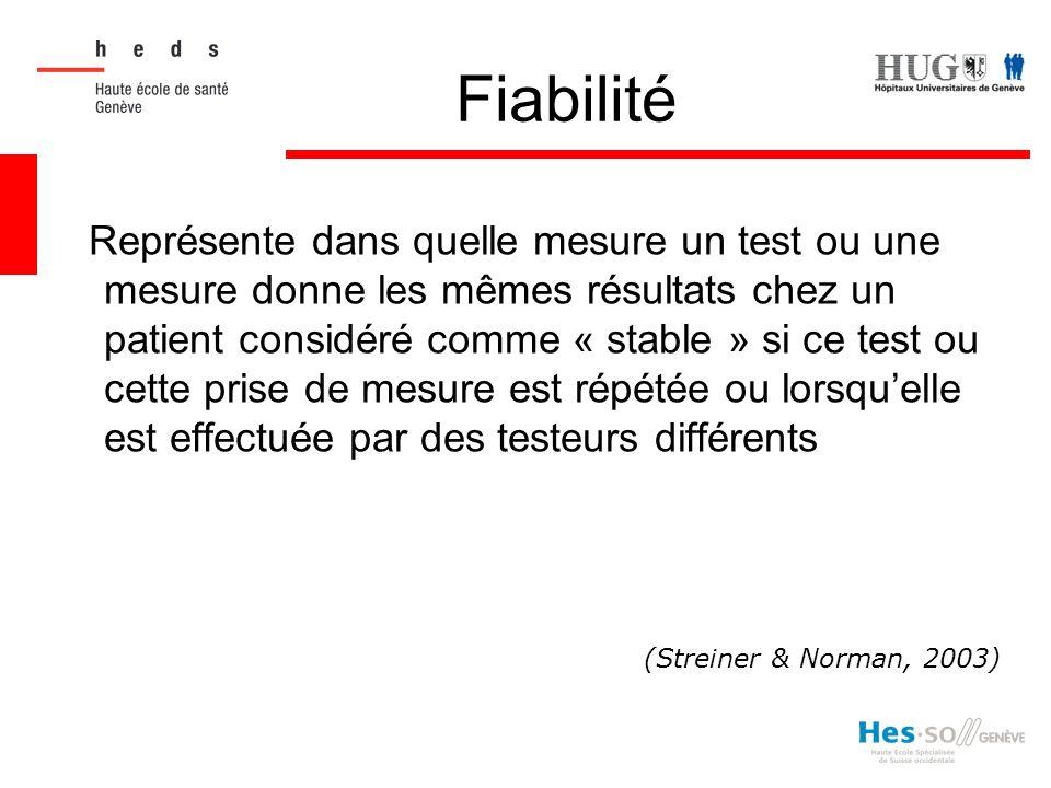 Fiabilité Représente dans quelle mesure un test ou une mesure donne les mêmes résultats chez un patient considéré comme « stable » si ce test ou cette