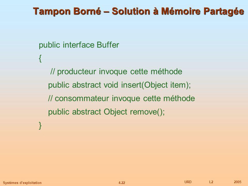 4.22 URDL22005 Systèmes dexploitation Tampon Borné – Solution à Mémoire Partagée public interface Buffer { // producteur invoque cette méthode public