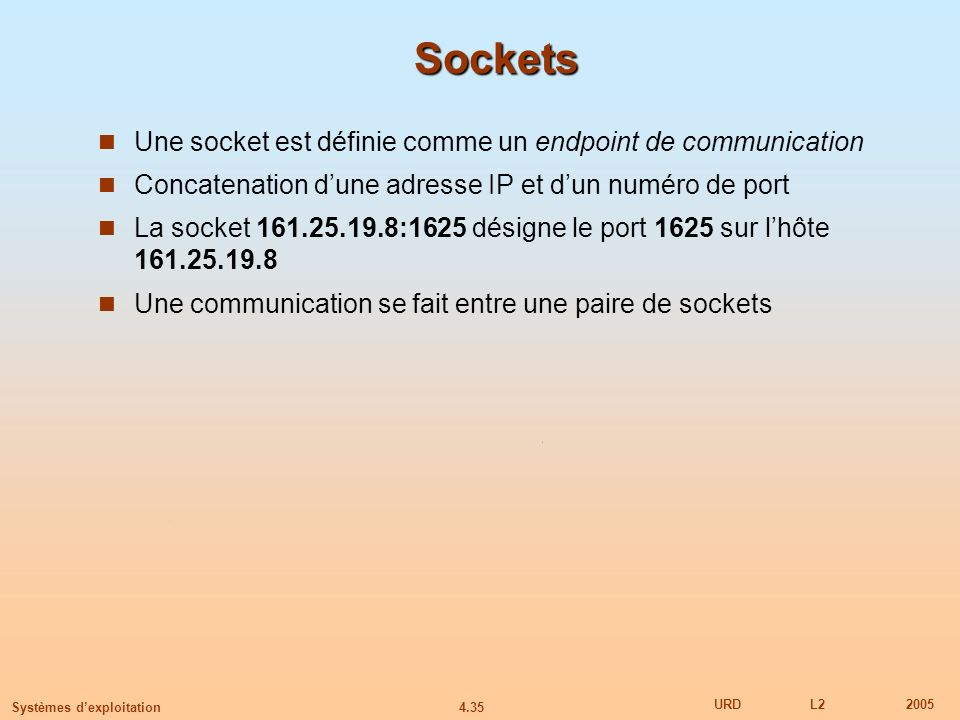 4.35 URDL22005 Systèmes dexploitation Sockets Une socket est définie comme un endpoint de communication Concatenation dune adresse IP et dun numéro de