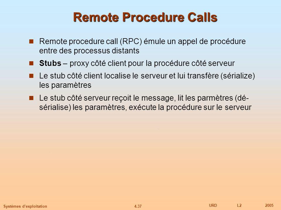 4.37 URDL22005 Systèmes dexploitation Remote Procedure Calls Remote procedure call (RPC) émule un appel de procédure entre des processus distants Stub