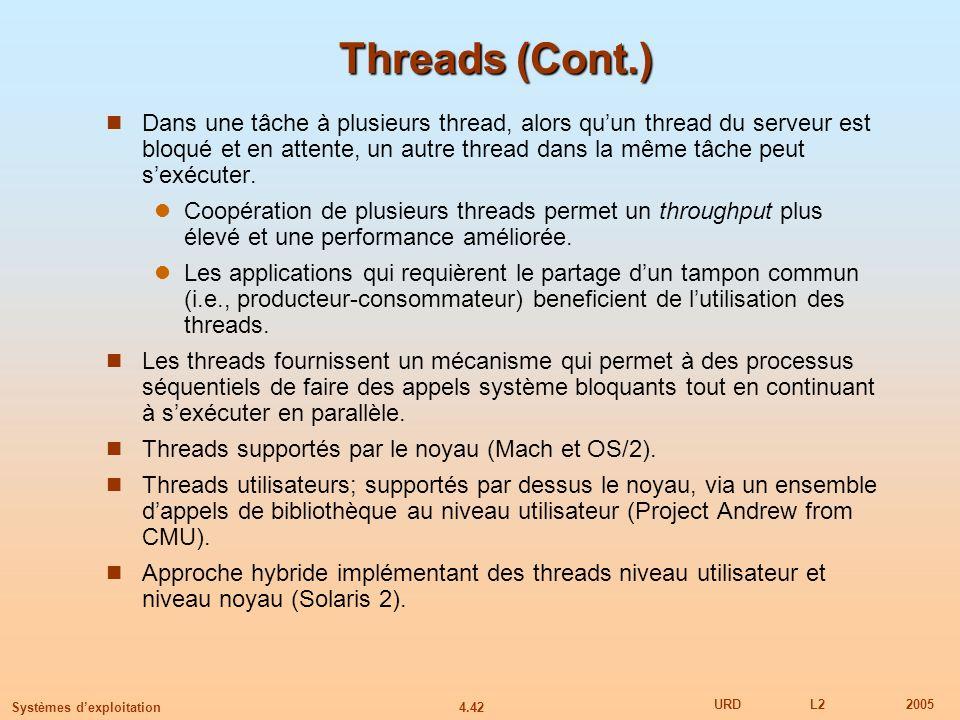 4.42 URDL22005 Systèmes dexploitation Threads (Cont.) Dans une tâche à plusieurs thread, alors quun thread du serveur est bloqué et en attente, un aut