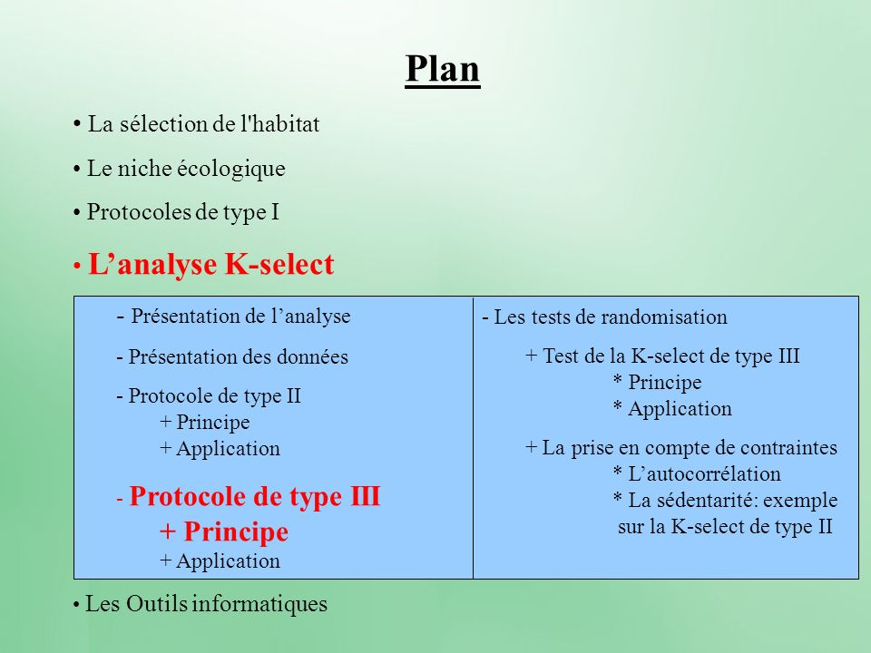 - Les tests de randomisation + Test de la K-select de type III * Principe * Application + La prise en compte de contraintes * Lautocorrélation * La sé