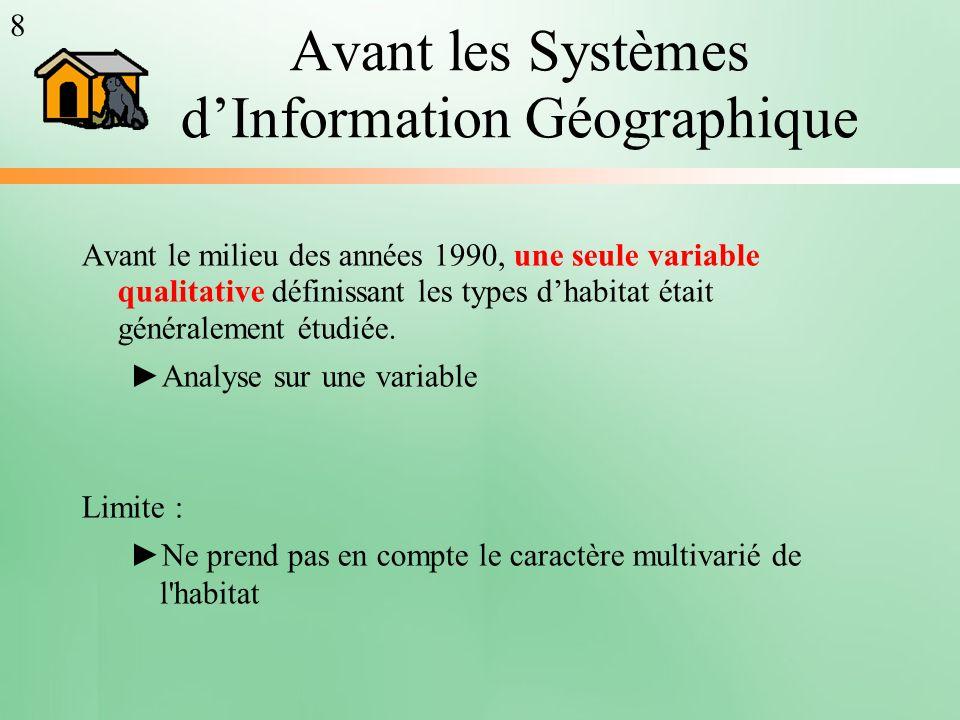 Avant les Systèmes dInformation Géographique Avant le milieu des années 1990, une seule variable qualitative définissant les types dhabitat était géné