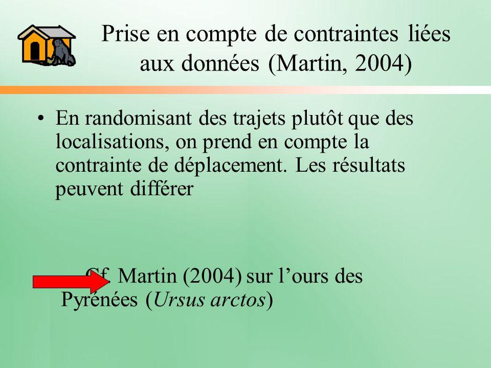 En randomisant des trajets plutôt que des localisations, on prend en compte la contrainte de déplacement. Les résultats peuvent différer Cf. Martin (2