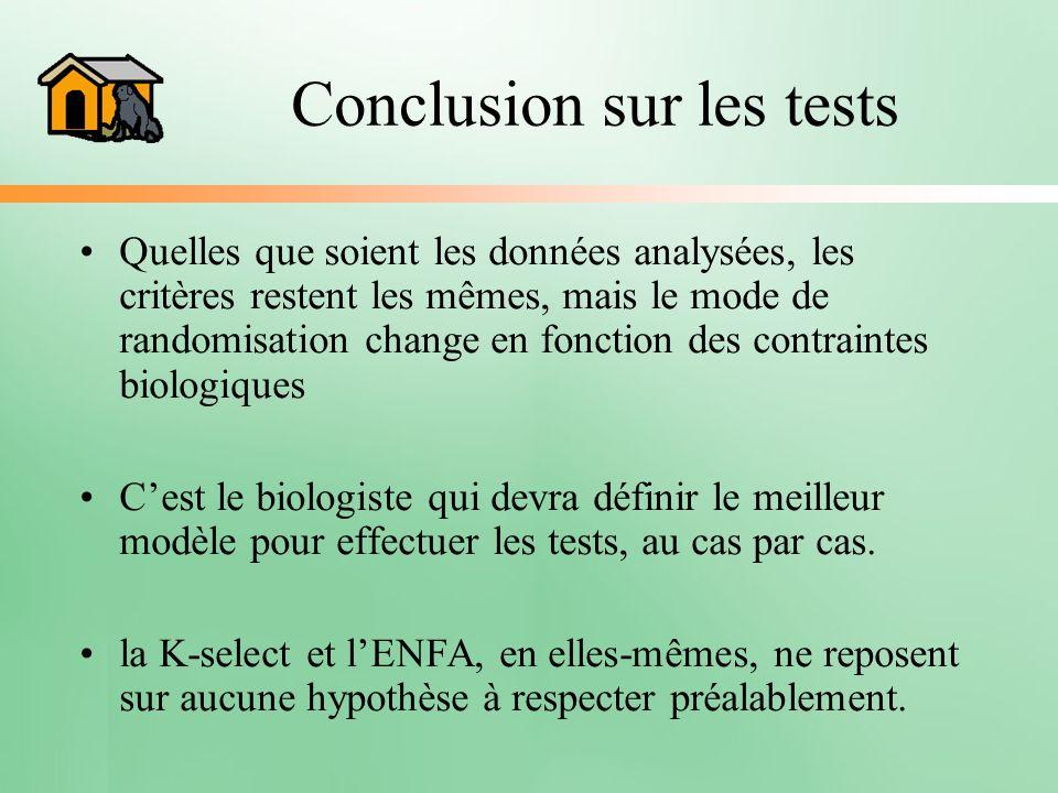 Conclusion sur les tests Quelles que soient les données analysées, les critères restent les mêmes, mais le mode de randomisation change en fonction de