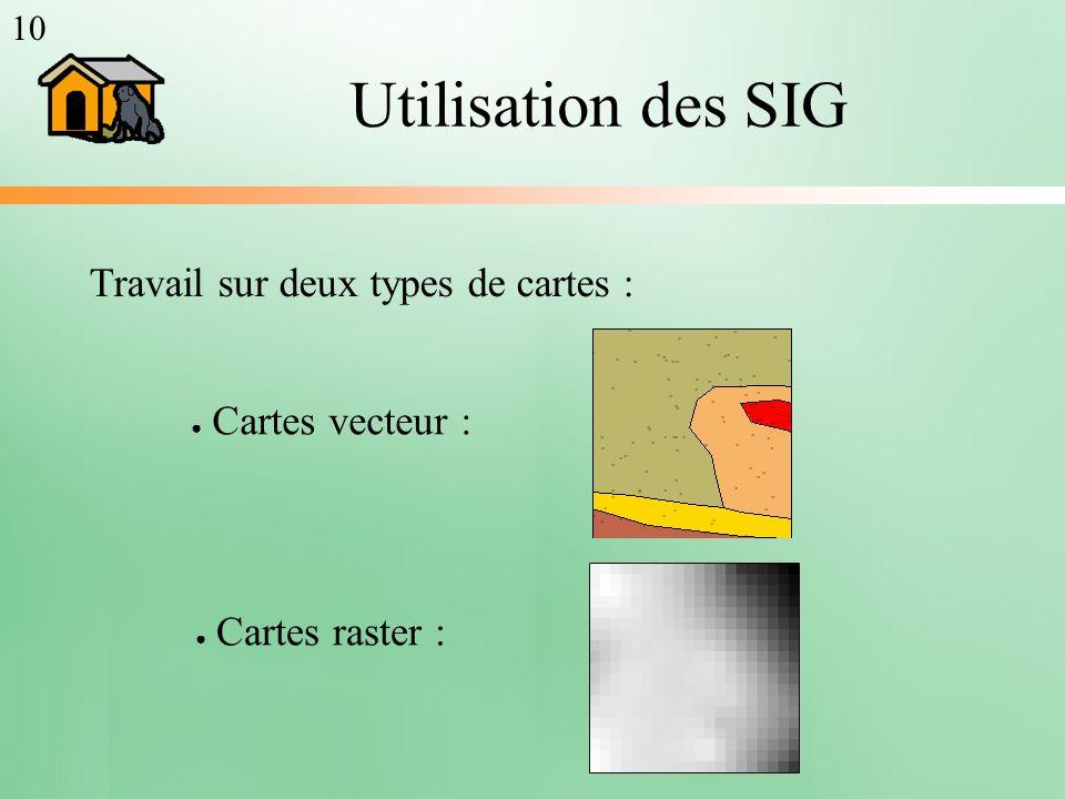 Travail sur deux types de cartes : Cartes raster : Cartes vecteur : Utilisation des SIG 10