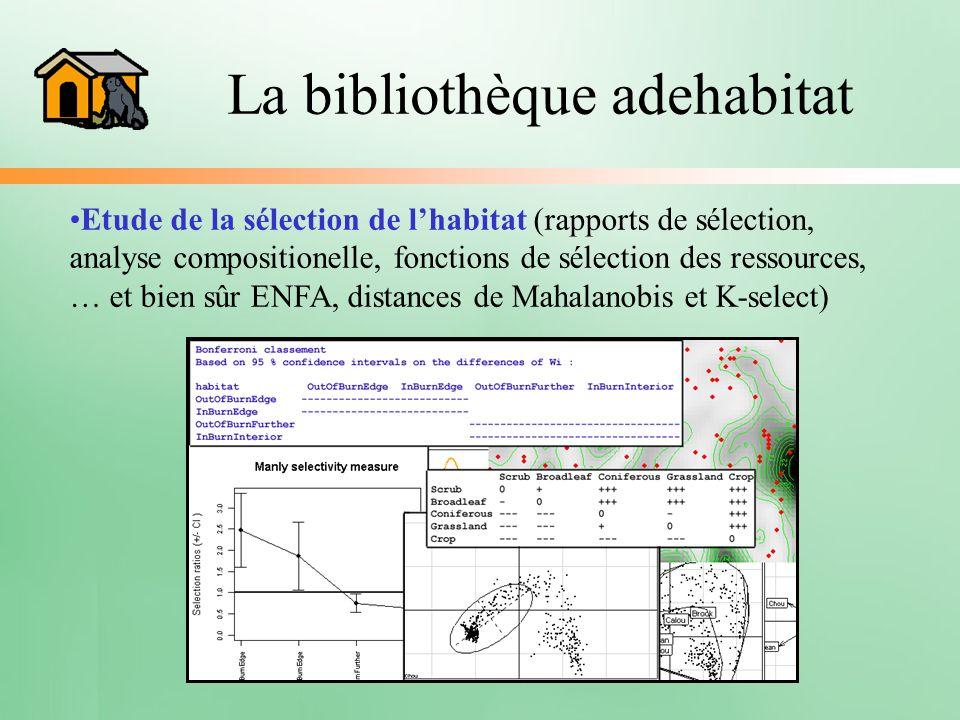 La bibliothèque adehabitat Etude de la sélection de lhabitat (rapports de sélection, analyse compositionelle, fonctions de sélection des ressources, …