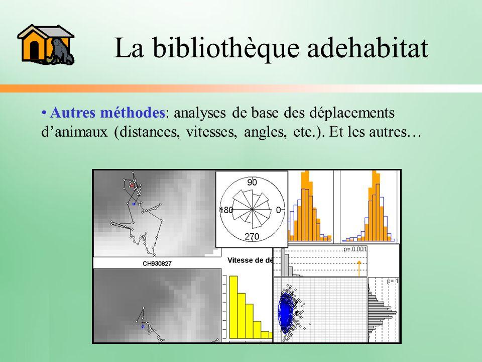 La bibliothèque adehabitat Autres méthodes: analyses de base des déplacements danimaux (distances, vitesses, angles, etc.). Et les autres…