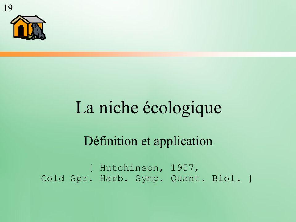 La niche écologique Définition et application [ Hutchinson, 1957, Cold Spr. Harb. Symp. Quant. Biol. ] 19