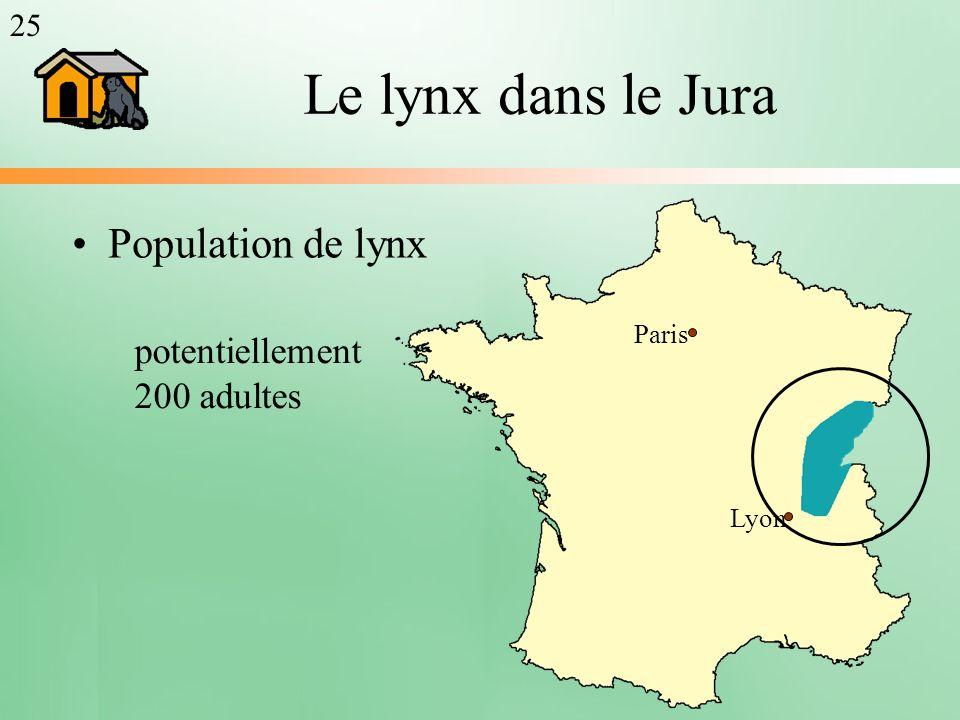 Le lynx dans le Jura Population de lynx Paris Lyon 25 potentiellement 200 adultes