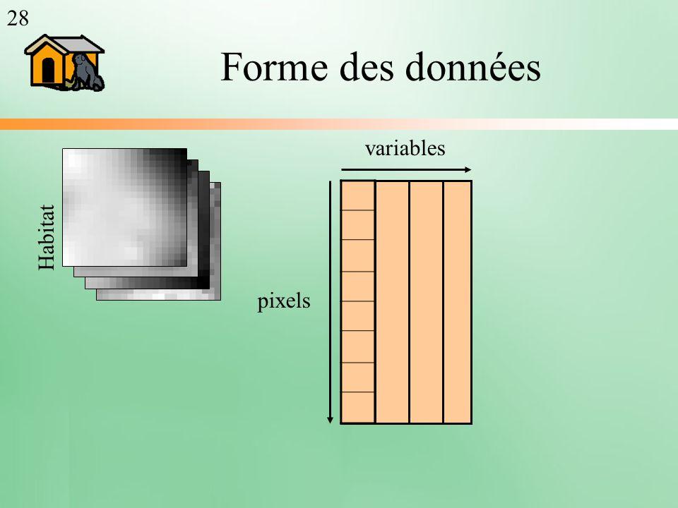 Forme des données pixels variables Habitat 28