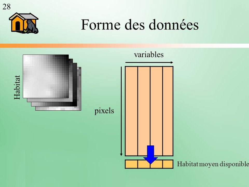 Forme des données pixels variables Habitat moyen disponible Habitat 28
