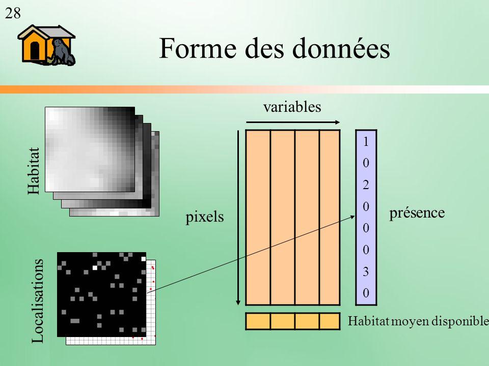 Forme des données 1020003010200030 pixels variables présence Habitat moyen disponible Habitat Localisations 28