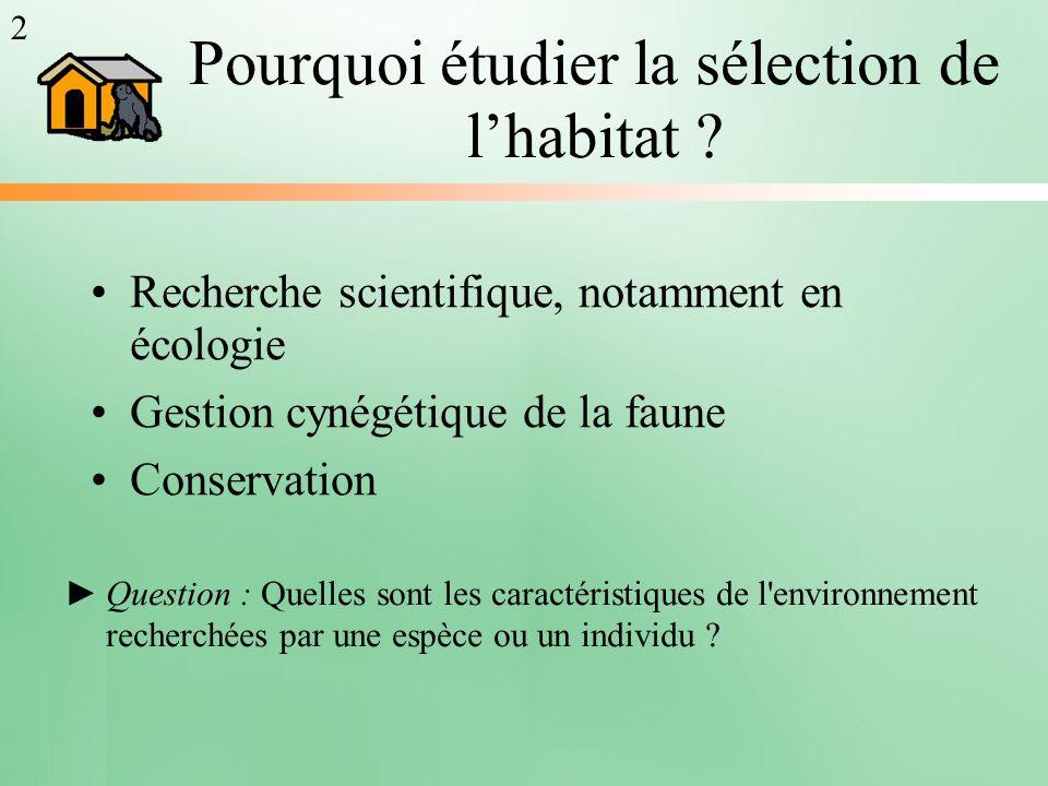 Pourquoi étudier la sélection de lhabitat ? Recherche scientifique, notamment en écologie Gestion cynégétique de la faune Conservation Question : Quel