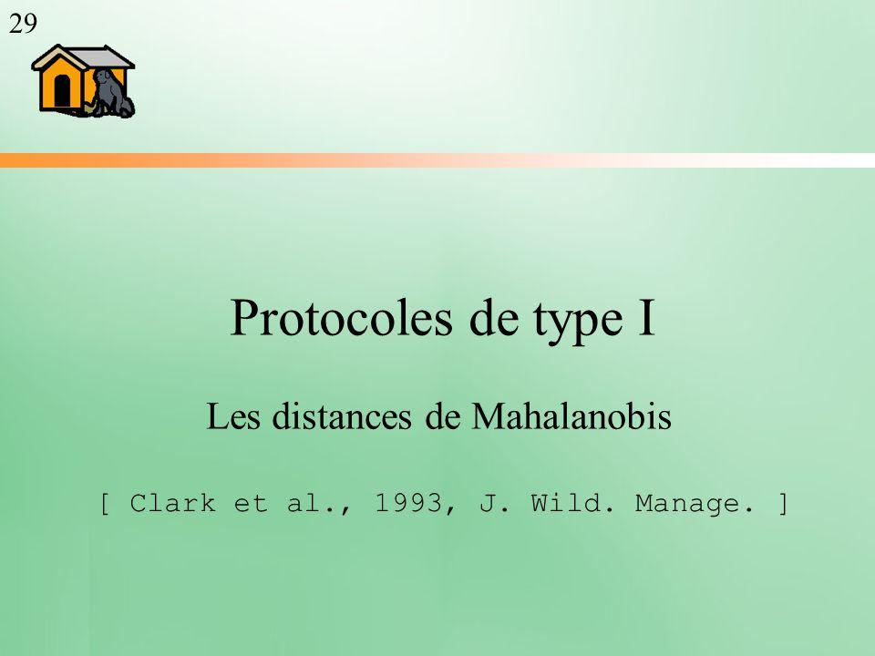 Protocoles de type I Les distances de Mahalanobis [ Clark et al., 1993, J. Wild. Manage. ] 29