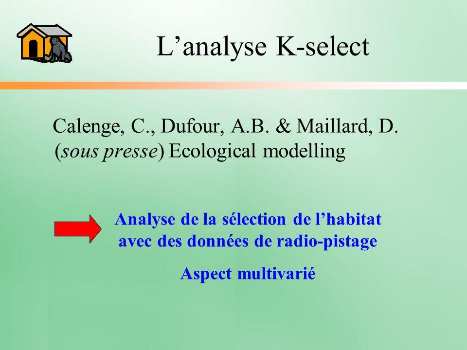 Lanalyse K-select Calenge, C., Dufour, A.B. & Maillard, D. (sous presse) Ecological modelling Analyse de la sélection de lhabitat avec des données de