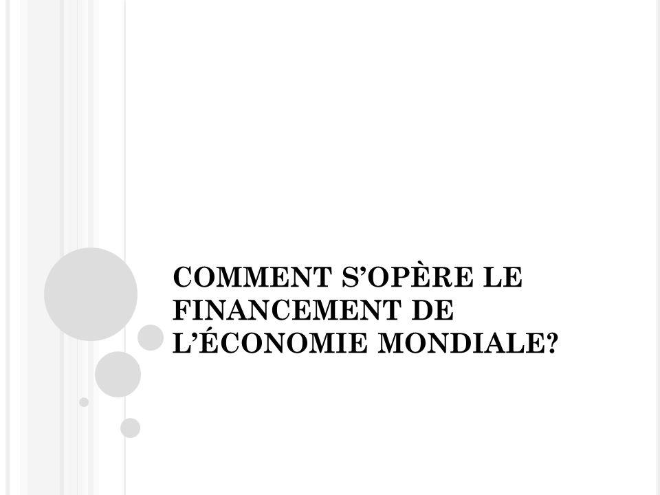 COMMENT SOPÈRE LE FINANCEMENT DE LÉCONOMIE MONDIALE