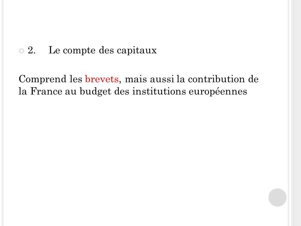 2.Le compte des capitaux Comprend les brevets, mais aussi la contribution de la France au budget des institutions européennes